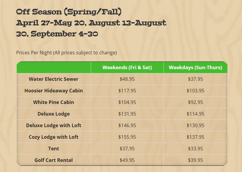 Reduced Spring Rates – Save 20% or more! at RV Park Bloomington IN