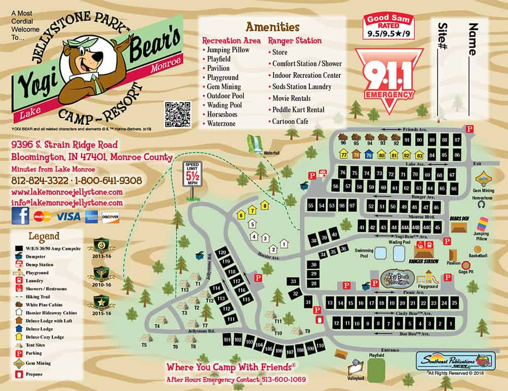 Park Map at RV Park Bloomington IN